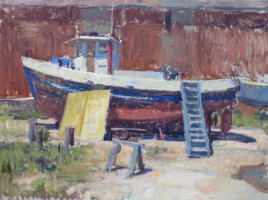 green port tug 24x30 inches, oil on canvas