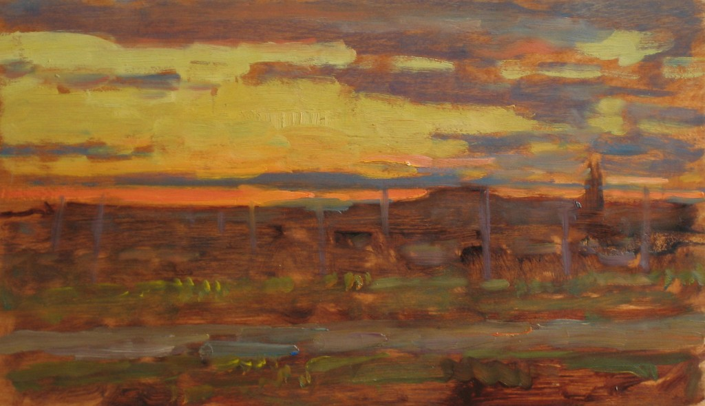 sunset 12x20 inches,  oil on wood